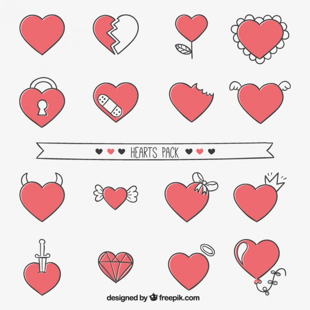 626x626 Cute Heart Collection Vector Premium Download