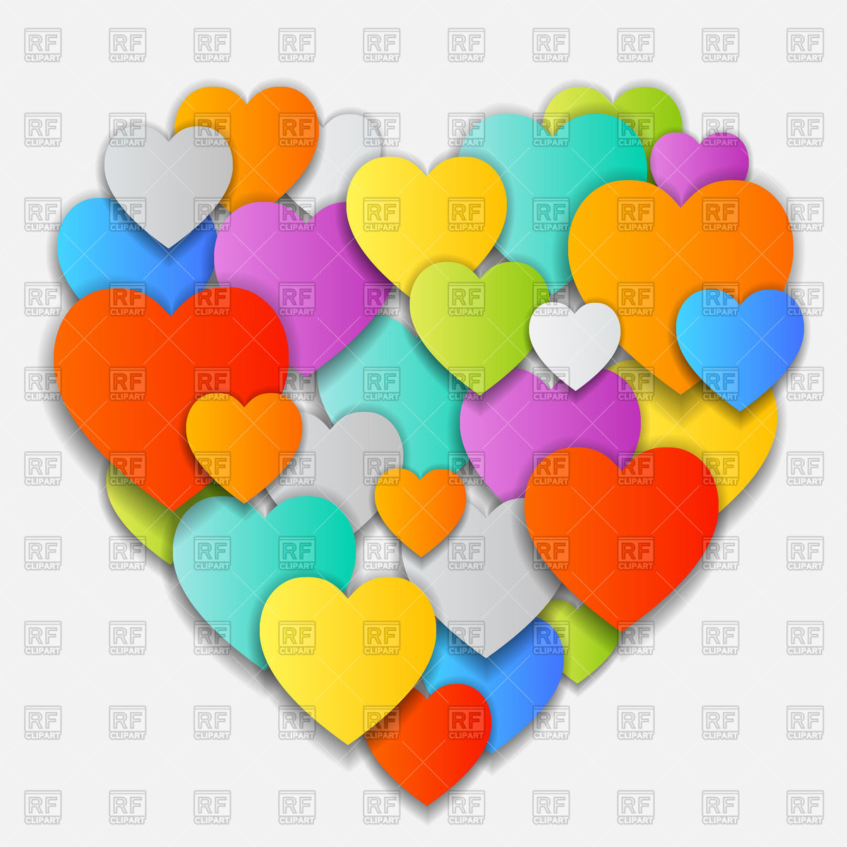 1200x1200 Cute Valentine Made Of Motley Overlapping Hearts Vector Image