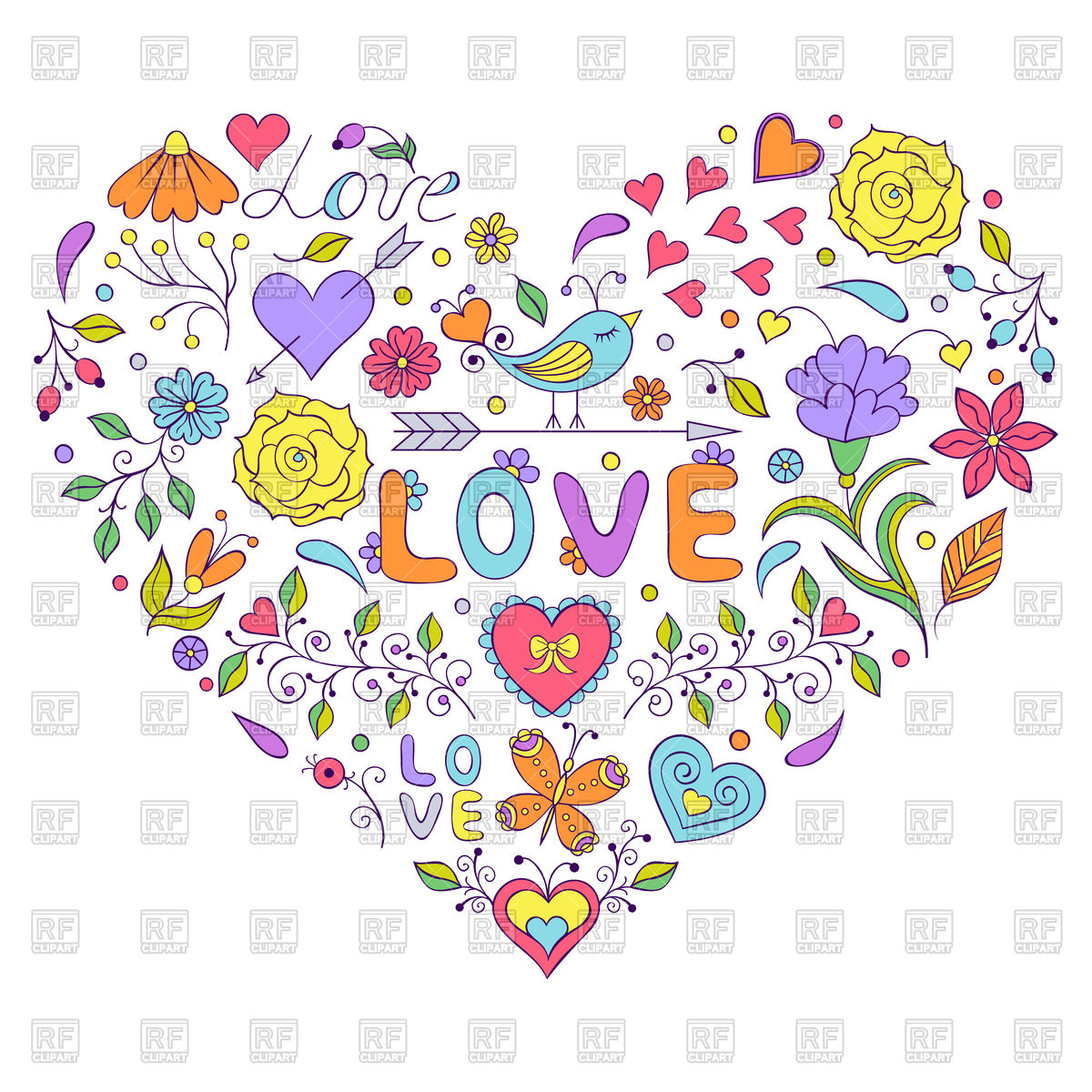 1200x1200 Doodle Cute Floral Heart Vector Image Vector Artwork Of Design