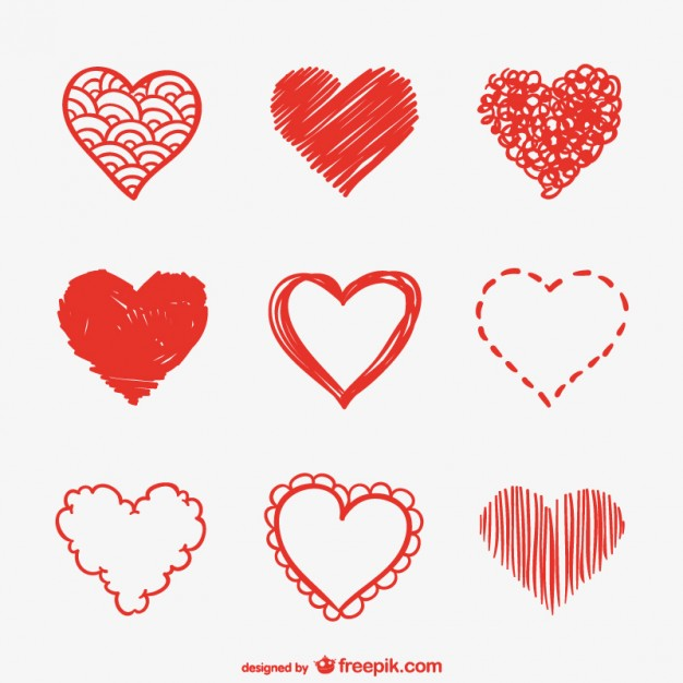 626x626 Heart Sketches Set Vector Free Download