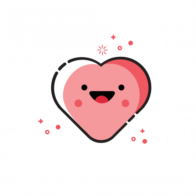 626x626 Heart Vector Cute Cartoon Vector Premium Download
