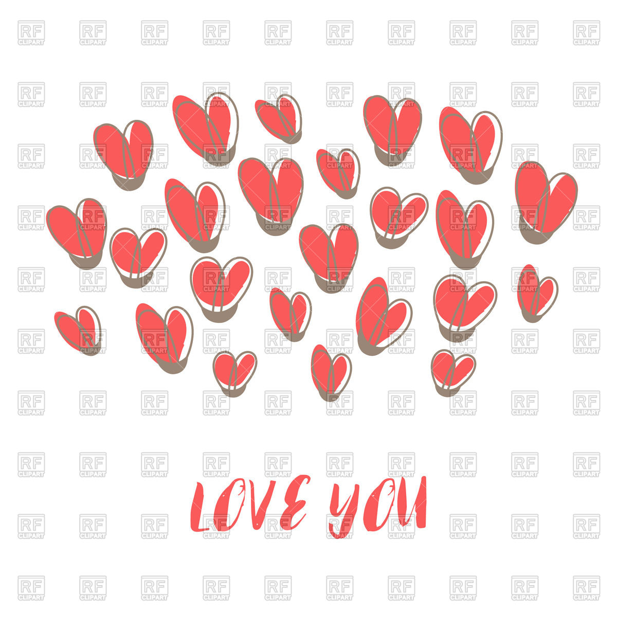 1200x1200 Love You Lettering And Cute Hearts On White Background, Valentines