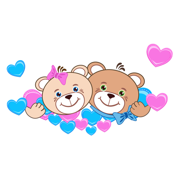 600x600 Cartoon Cute Teddy Bear With Heart Vector Material 06 Free Download