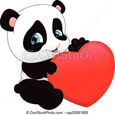 450x452 Vector Illustration Of Cute Funny Baby Panda And Red Heart.