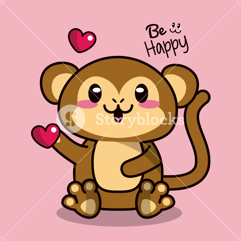 1000x1000 Pink Color Background With Cute Kawaii Animal Monkey Holding A