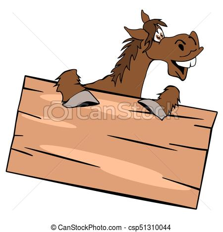 450x469 Cute Horse With Wooden Sign. Happy Cute Horse With A Wooden Sign
