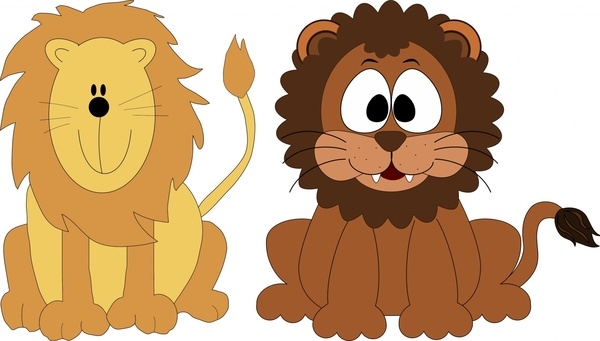 600x341 Cute Lions Vector Illustration With Cartoon Style Free Vector In