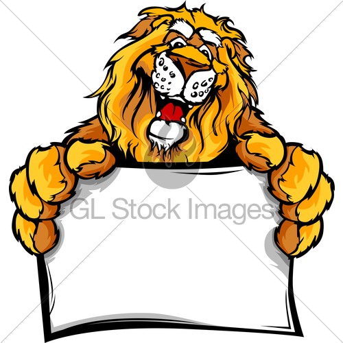 500x500 Graphic Vector Image Of A Happy Cute Lion Mascot Holding Gl