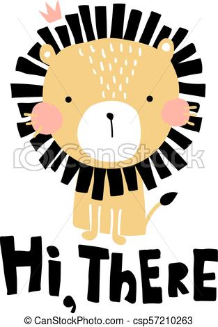 313x470 Hi There Lion. Vector Illustration, Cute Lion And Hi There Hand