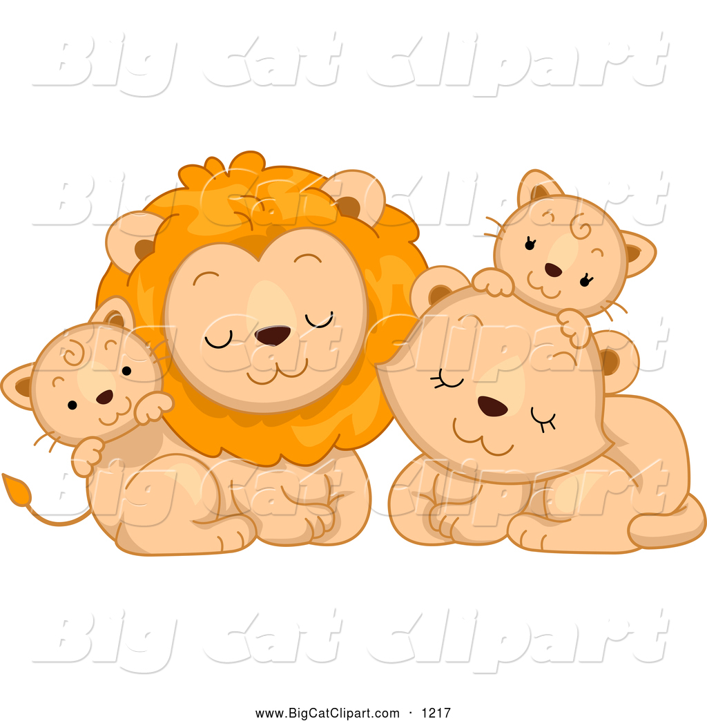 1024x1044 Big Cat Cartoon Vector Clipart Of A Cute Lion Family Cuddling By