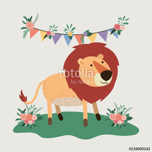 500x500 Baby Shower Card With Cute Lion Vector Illustration Design Stock