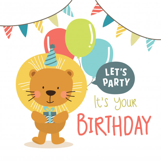 626x626 Birthday Background With Cute Lion Vector Premium Download