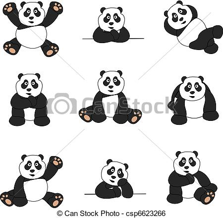 450x440 Cute Panda Set. Illustration Set Of Nine Cute Cartoon Pandas.