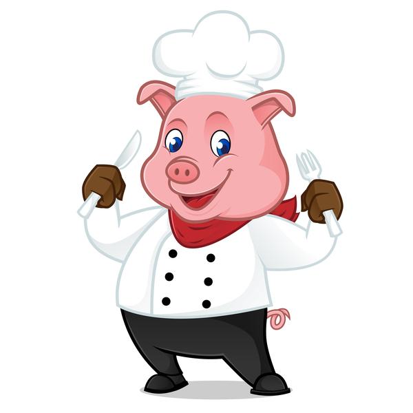 600x600 Cute Cartoon Chef Pig Vector Illustration 07