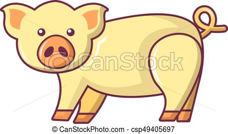 450x264 Cute Pig Icon, Cartoon Style. Cute Pig Icon. Cartoon Illustration