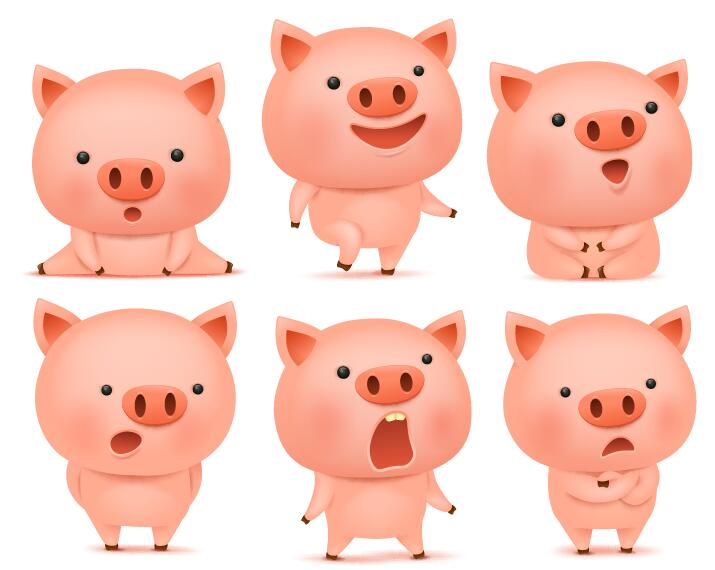 715x570 Cute Pink Pigs Vector Set 02 Free Download