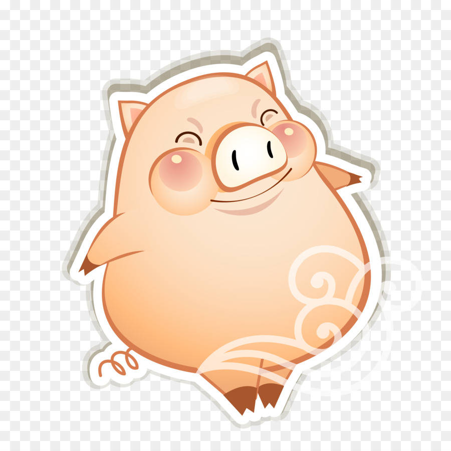 900x900 Domestic Pig Cartoon
