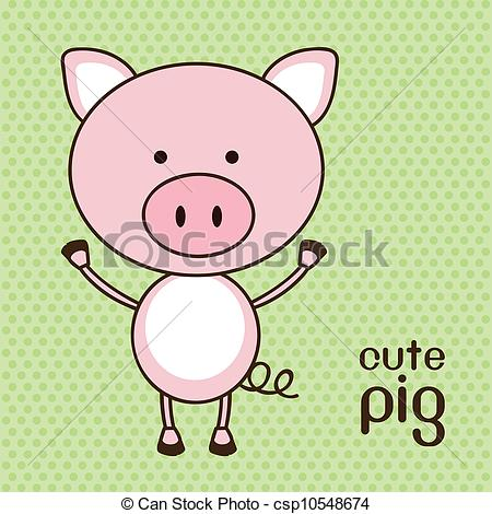450x470 Illustration Of A Cute Pig Background, Vector Illustration.