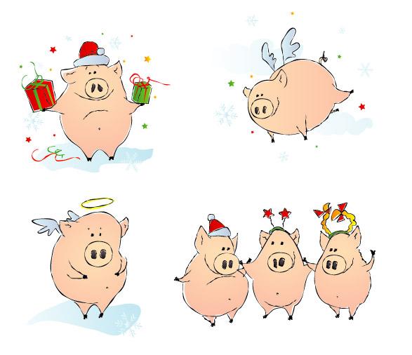 587x506 Super Cute Cartoon Pig Ai Vector