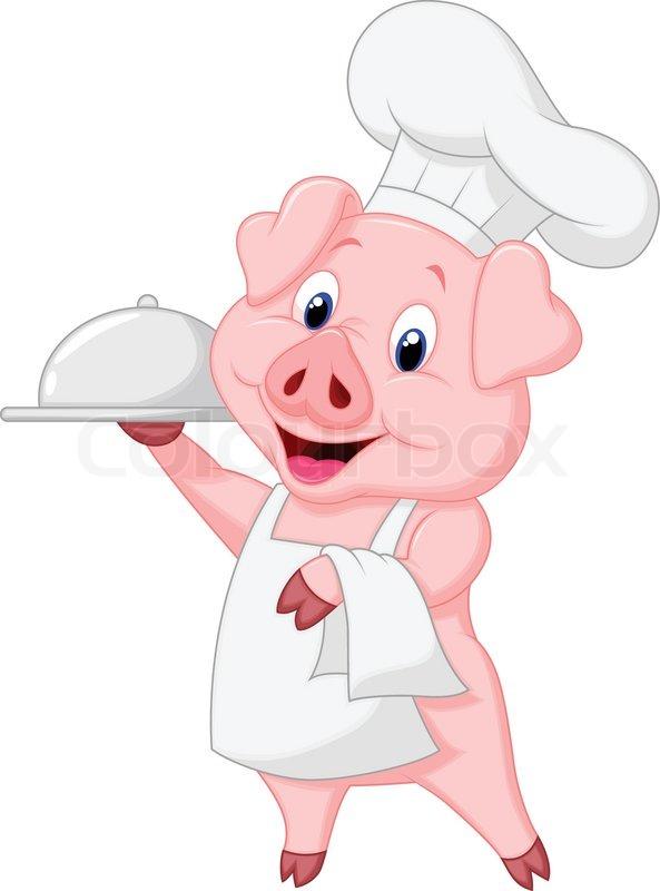 593x800 Vector Illustration Of Cute Pig Chef Cartoon Holding Platter