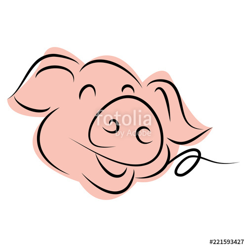 500x500 Drawing Of Cute Pig Vector Illustration Simple Concept Zodiac Of