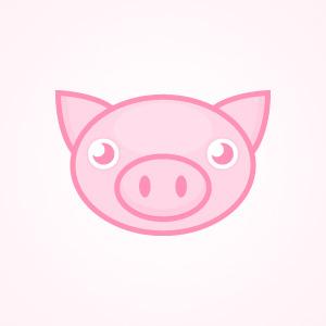 300x300 Cute Pink Pig Vector