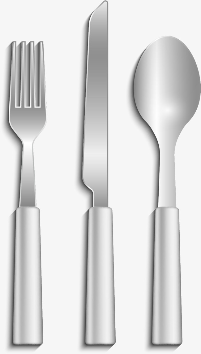 650x1143 Vector Hand Painted Stainless Steel Cutlery, Vector Diagram, Hand