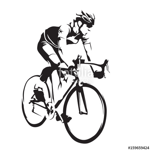 500x500 Cyclist On His Road Bike. Cycling Abstract Vector Silhouette