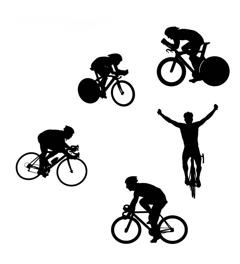 800x880 Free Cycling Vector Silhouettes