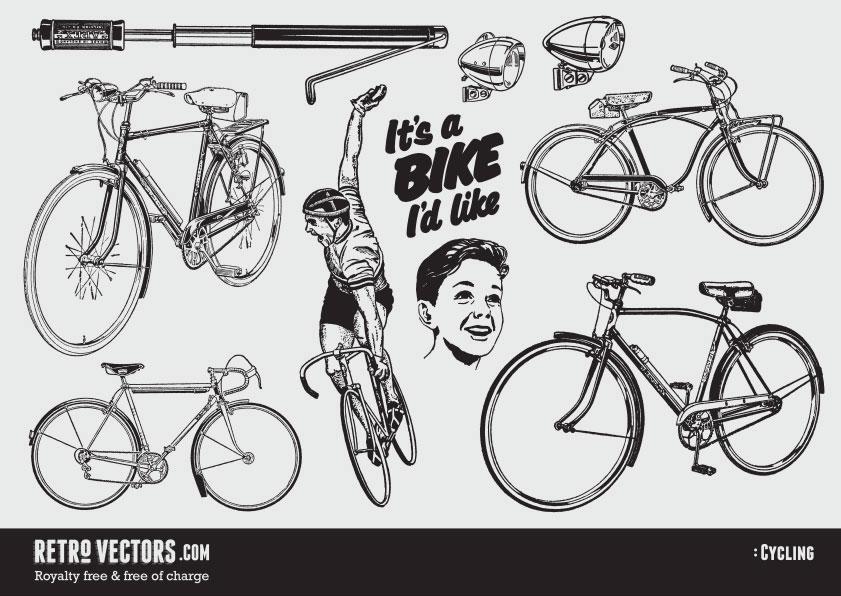 841x596 Free Retro Cycling Vectors Vintage Vectors Royalty Free Free