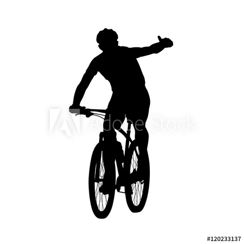 500x500 Mountain Biker Showing Thumbs Up. Cycling, Vector Silhouette, Fr