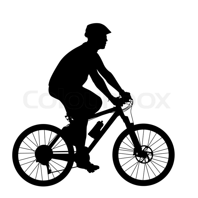 800x800 Silhouette Of A Cyclist Male. Vector Illustration. Stock Vector