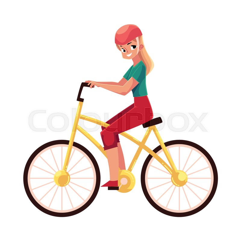 800x800 Young Pretty Blond Woman, Girl Riding A Bicycle, Cycling, Cartoon