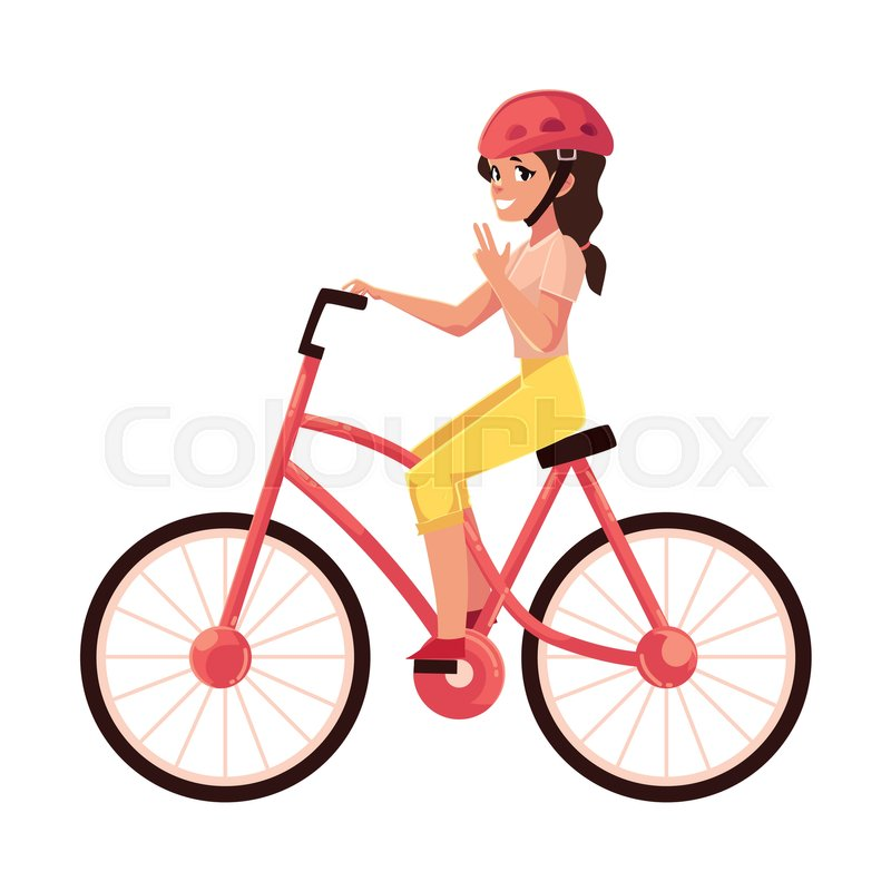 800x800 Young Pretty Woman, Girl Riding A Bicycle, Cycling, Cartoon Vector