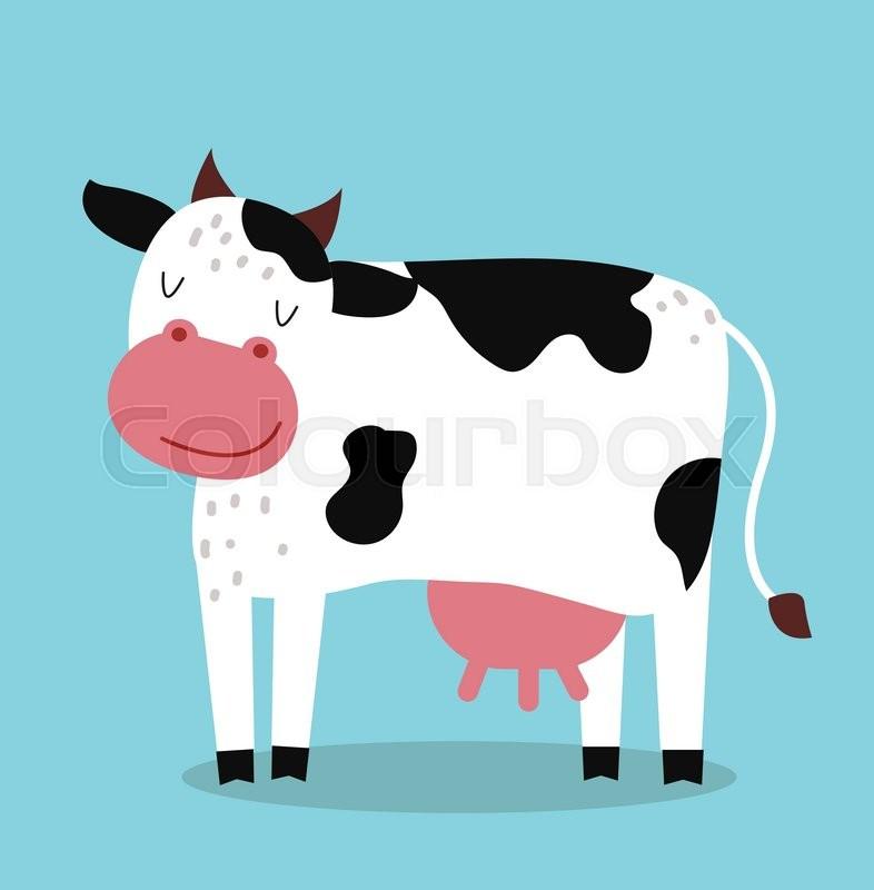 786x800 Cute Cartoon Cow Vector Illustration. Cartoon Cow Isolated On Blue
