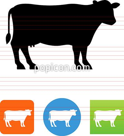 400x437 Vector Dairy Cow Silhouette Icon