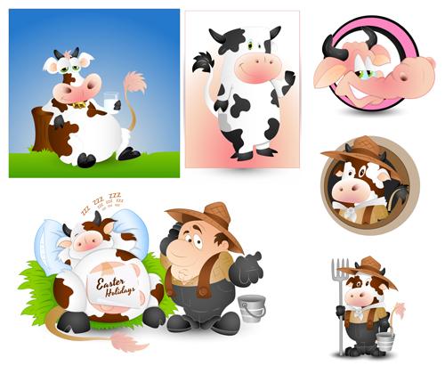 500x420 Cartoon Dairy Cow Vector Ai Format Free Vector Download