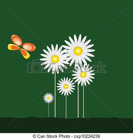 450x470 Daisy And Butterfly On Green Background Art Vector.