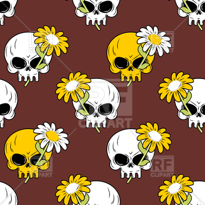400x400 Daisy And Skull Seamless Pattern Vector Image Vector Artwork Of
