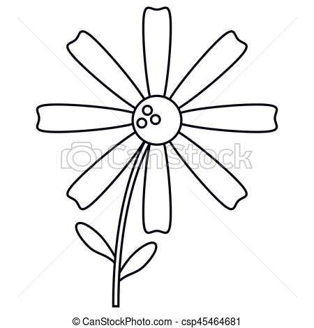 450x470 Daisy Flower Decoration Line Vector Illustration Eps 10.