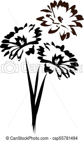 282x470 Vector Black And White Bouquet Of Daisies. Vector Floral Design Of