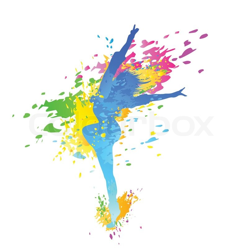 800x800 Dancing Colorful Girl Splash Paint Dance On White Background