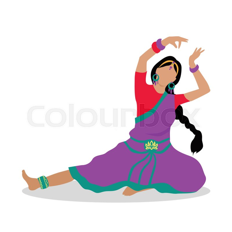 800x800 Woman In Indian National Clothes Dance. Vector In Flat Design