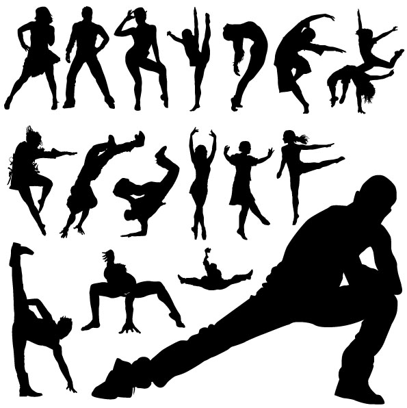 595x596 Different Dance People Silhouettes Vector Free Download