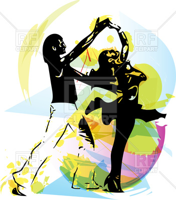 351x400 Latino Dancing Couple On Abstract Background