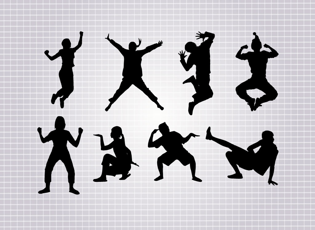 1024x750 Street Dance Vector Silhouettes