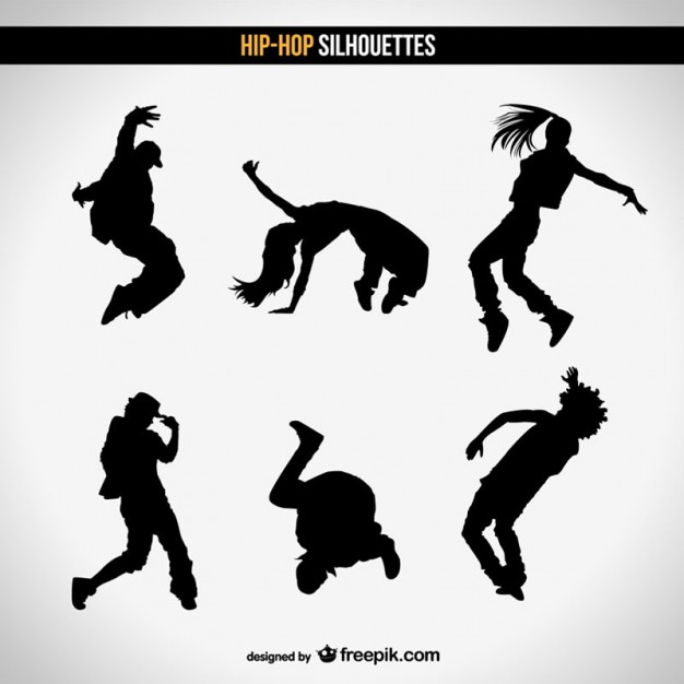 626x626 Street Dancers Silhouettes Vector Free Download