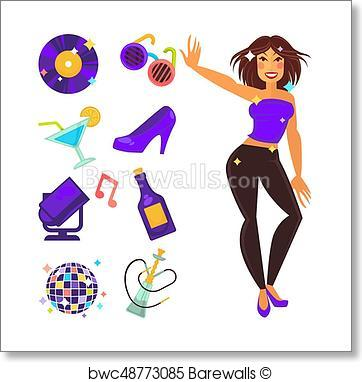 362x382 Art Print Of Party Night Club And Dancing Girl Vector Flat Icons