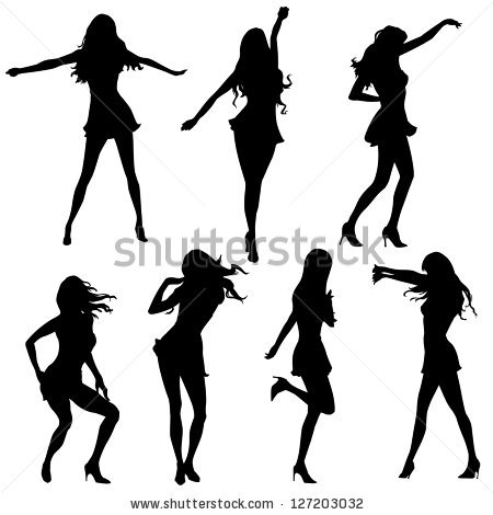 450x470 Dancing Girl Silhouette Clipart