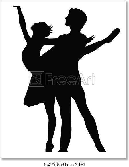 450x580 Free Art Print Of Ballet Dance Girl And Boy Silhouettes Vector
